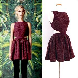 Cameo Armadillo Dress Maroon Leopard Fit & Flare